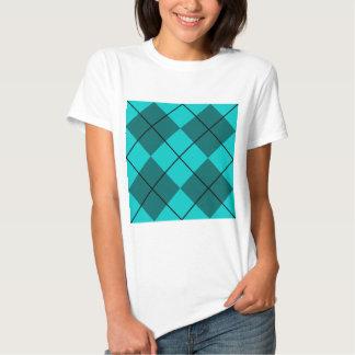Cyan Teal Blue Argyle T-Shirt