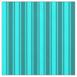 [ Thumbnail: Cyan & Teal Colored Lined Pattern Fabric ]