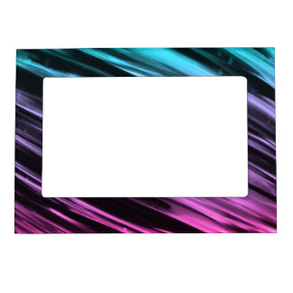 Cyan to Pink Streaks Picture Frame Magnet