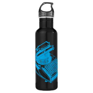Cyan Type Writing Machine Water Bottle