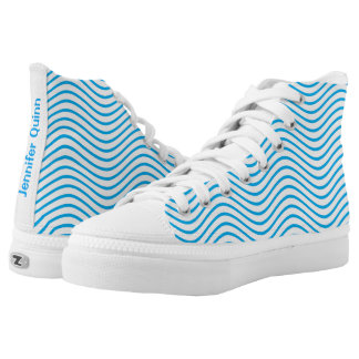 Cyan Wavy Lines You Choose the Background Color High-Top Sneakers