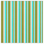 [ Thumbnail: Cyan, White, and Green Stripes/Lines Pattern Fabric ]