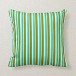 [ Thumbnail: Cyan, White, and Green Stripes/Lines Pattern Throw Pillow ]