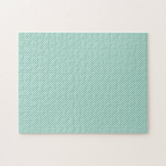 Cyan With Simple White Dots Jigsaw Puzzles