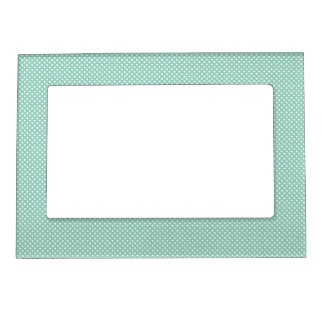 Cyan With Simple White Dots Picture Frame Magnet