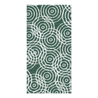 Cyan Wood Ikat Overlap Circles Geometric Pattern Card