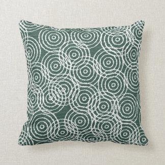Cyan Wood Ikat Overlap Circles Geometric Pattern Throw Pillow