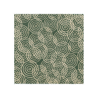 Cyan Wood Ikat Overlap Circles Geometric Pattern Wood Wall Decor
