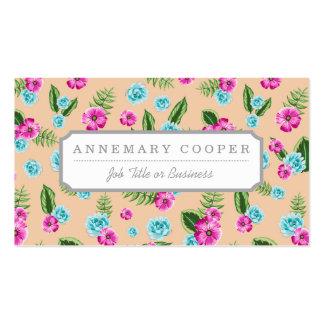 Cyan x Pink Flowers Pattern Business Card