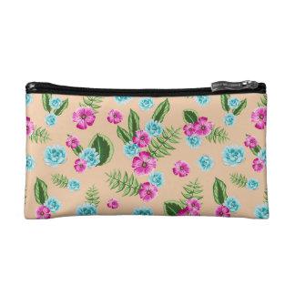 Cyan x Pink Flowers Pattern Cosmetic Bag