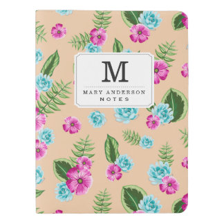 Cyan x Pink Flowers Pattern Extra Large Moleskine Notebook