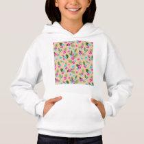 Cyan x Pink Flowers Pattern Hoodie