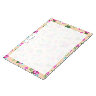 Cyan x Pink Flowers Pattern Notepad