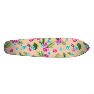 Cyan x Pink Flowers Pattern Skateboard Deck
