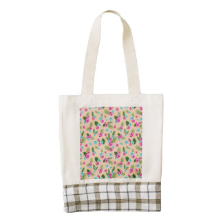 Cyan x Pink Flowers Pattern Zazzle HEART Tote Bag