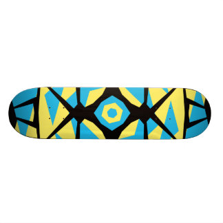 Cyan, Yellow and Black Symmetrical Design Skateboard Deck