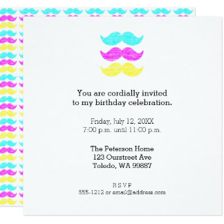 Cyan Yellow Magenta Mustaches (letterpress style) Card