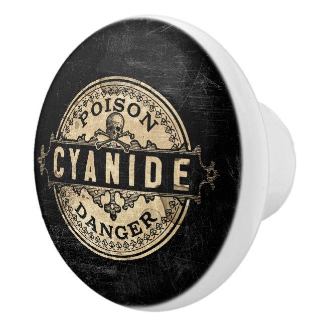 Cyanide Vintage Style Poison Label Ceramic Knob