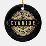 Cyanide Vintage Style Poison Label Double-Sided Ceramic Round Christmas Ornament