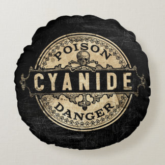 Cyanide Vintage Style Poison Label Round Pillow
