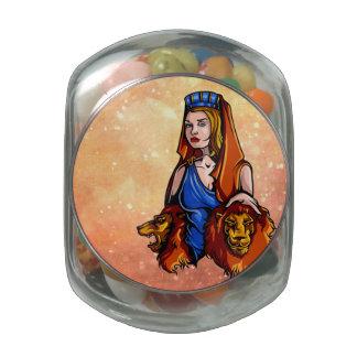 Cybele la diosa de la naturaleza con dos leones jarras de cristal jelly bely