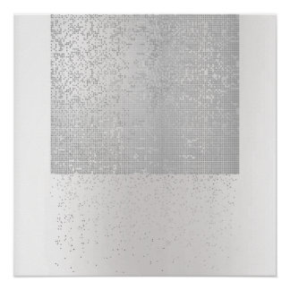 Cyber Binary Minimal Monochromatic Silver Gray Lux Poster