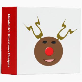 Cyber Christmas Reindeer Custom Recipe 3 Ring Binder