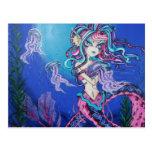 Cyber Goth Mermaid Jelly Fish Fantasy Postcard