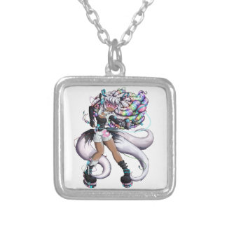 Cyber Kitsune Girl Silver Plated Necklace