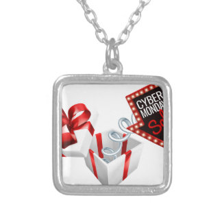 Cyber Monday Box Spring Sale Sign Silver Plated Necklace