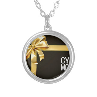 Cyber Monday Sale Gift Bow Ribbon Design Silver Plated Necklace