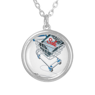 Cyber Monday Sale Phone Trolley Mouse Sign Silver Plated Necklace