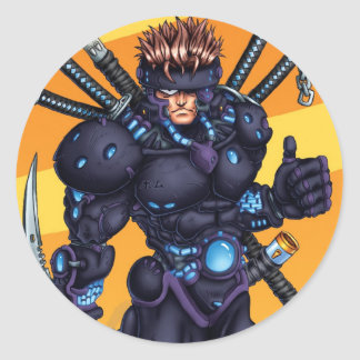 Cyber Ninja Round Sticker