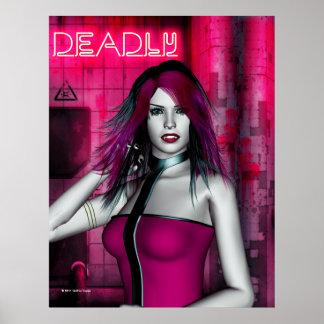 Cyber Pink Vampire Goth Print