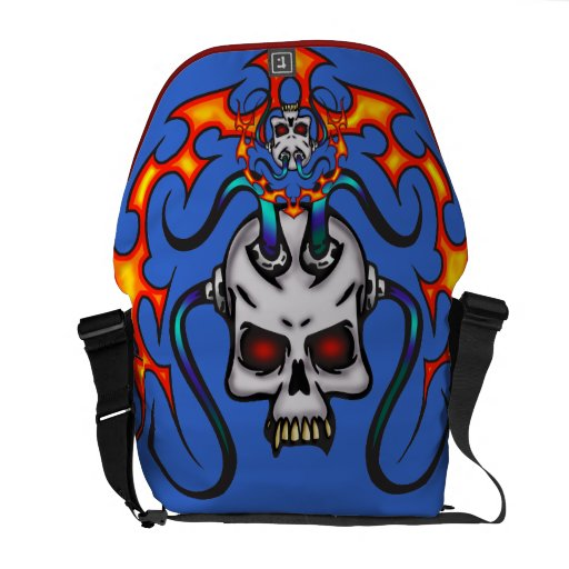 Cyber Skull and Flames Commuter Bags