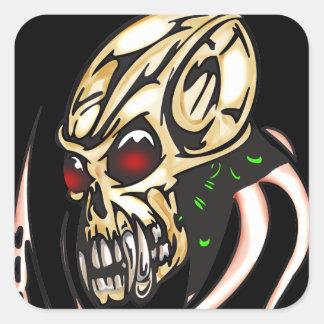 Cyber Skull Octopus Square Sticker
