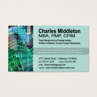 Cyber Tech-1 Business Card template (aqua)