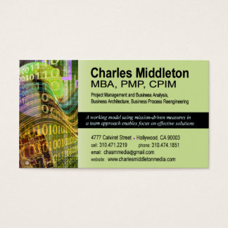 Cyber Tech-1 Business Card template (olive)