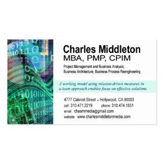 Cyber Tech-1 Business Card template white aqua
