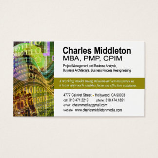 Cyber Tech-1 Business Card template (white/olive)