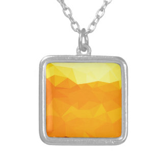 Cyber Yellow Abstract Low Polygon Background Silver Plated Necklace