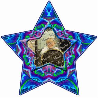 Cyberdelic Kaleidoscope Custom Photo Star Ornament Photo Cut Outs