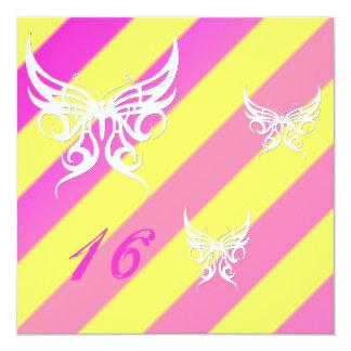 "Cybergoth Butterflies Sweet 16 Birthday Invites 5.25"" Square Invitation Card"