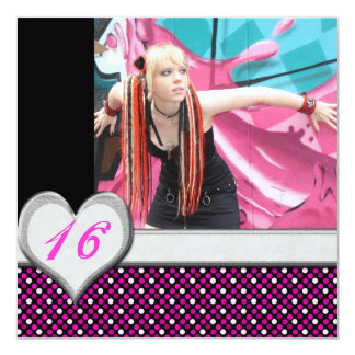 "Cybergoth Pink Polka Dot Sweet 16 Birthday Invites 5.25"" Square Invitation Card"