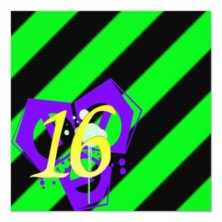 "Cybergoth Raver Sweet 16 Birthday Invitation 5.25"" Square Invitation Card"