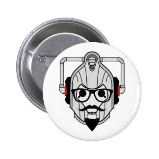 Cyberman Hipster Pinback Button