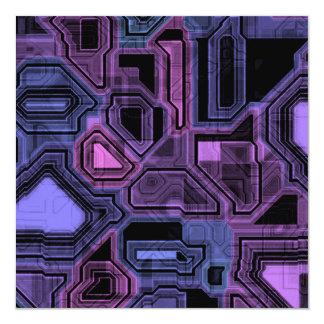 Cybernetic Purple Pattern 5.25x5.25 Square Paper Invitation Card