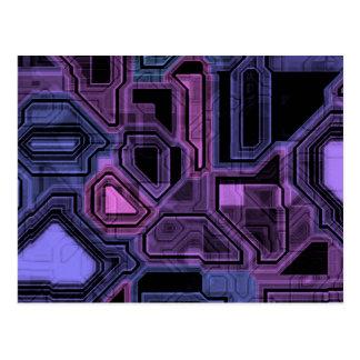 Cybernetic Purple Pattern Postcard