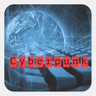 Cyberpunk Genre Book Cover Square Sticker
