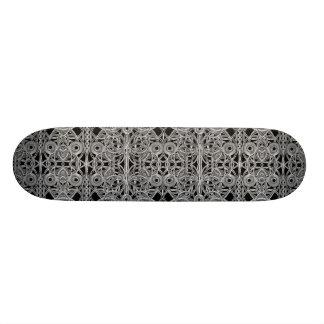 Cyberpunk Silver Print Pattern Skateboard